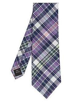 New & Lingwood Cotton Check Formal Purple Tie  - was £35 now £3.50 + £2.99 Postage @ eBay House of Fraser Outlet