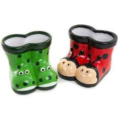 Frog and Ladybird planters £1 @ poundland