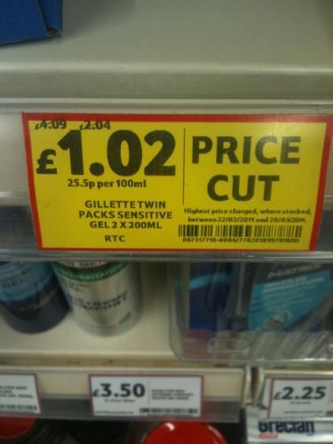 Gillette Sensitive Gel Twin Pack RTC - £1.02 Instore @ Tesco