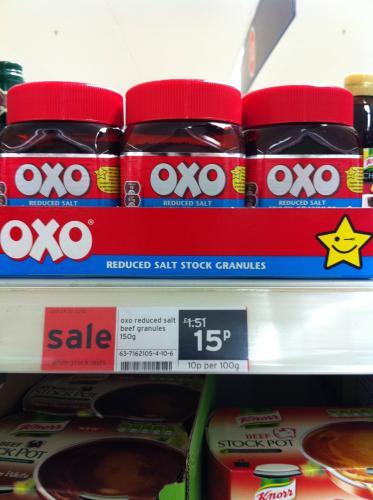 Oxo reduced salt beef stock granules - 15p @ Sainsburys