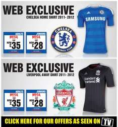 Pre-order Deals on Chelsea and Liverpool New Shirts From £28 @ Sports Direct