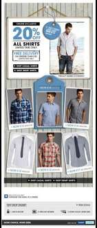 20% Off All Shirts plus free delivery over £30 @ Burton