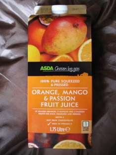 100% Pure Orange, Mango and Passion Fruit Juice,Big 1.75L HALF PRICE, Was £2.36 Now Only £1.18 instore @ Asda