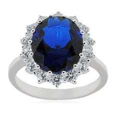 Silver Sapphire/White CZ Cluster Ring - £22.59 @ Amazon