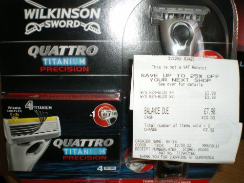 Wilkinson Quattro Titanium Precision Razor and Five Blades  £3.99@ SuperDrug