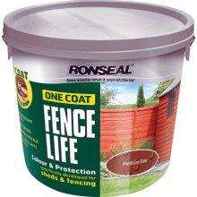 Ronseal One Coat Fencelife 5ltr £6.99 or 2 for a tenner at Watt Brothers (Scotland only?)
