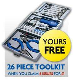 6 Issues of Auto Express for £1 Plus FREE 26-Piece Toolkit @ Auto Express