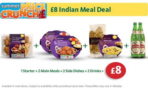 Indian meal deal for 2 people for £8 including 2 500ml bottles of lager @ morrisons