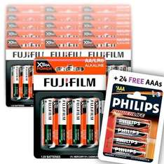 FujiFilm Alkaline AA Batteries (Pack of 60) + 24 Philips AAA Batteries £11.99 delivered @ dealtastic