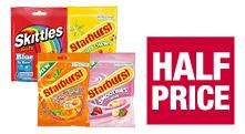 Skittles fruits/Starburst original/Tongue tangles/Smoothies 135-192g 72p @ Co-Op