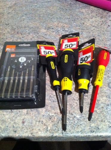 B&Q BIG discounts on major brand tools - Stanley screwdrivers 50p etc