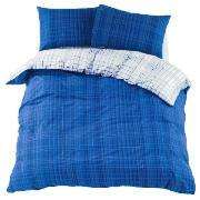 Tesco Etched Check Print Duvet Set Kingsize £3.37, Blue back in stock