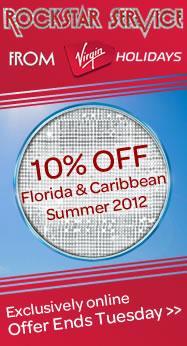 10% off Florida and Caribbean Summer 2012 holidays this weekend @ Virgin Holidays