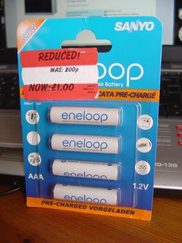 Pack of 4 Sanyo Eneloop AAA Rechargeable batteries £1 @ Asda