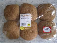6 Large Wholemeal Baps Half Price Only 50p @ Morrisons