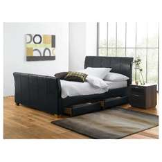 Tesco Direct Rayne King Bed Black Faux Leather With 4 Drawers. £267.50