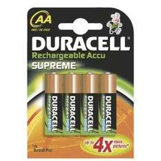 Duracell Rechargeable Accu Supreme 2450 mAh AA Batteries - 4-Pack now £4.49 @ Amazon