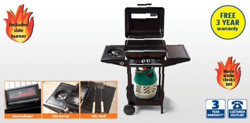 Dual Gas BBQ with Side Burner, £49.99 at Aldi