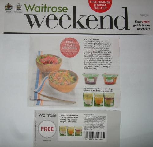Waitrose Voucher for Free Salad Dressing worth 49p