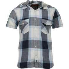 Brave Soul - Men's Short Sleeved Hooded Shirt - Checked Blue - £5.94 @ The Hut (with code)