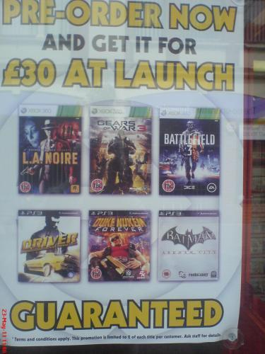 Gears of War 3, Battlefield 3, Duke Nukem £30 Instore Pre-order Grainger Games.