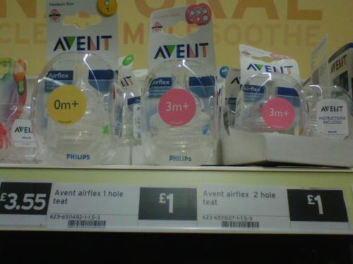 Avent 2-Pack Bottle Teats Size 1,2,3 & 4. All £1 @ Sainsburys