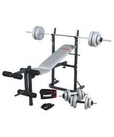 York Exercise Bench with 40kg Weights Set, Gloves and Belt was £99.99 now £59.99 @ argos