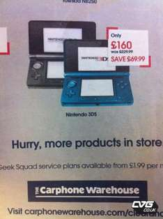 Nintendo 3DS - £160 @ Carphone Warehouse (Instore and online)
