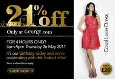 21% off everything (min £21 spend) 5-9pm only @ Asda George clothing