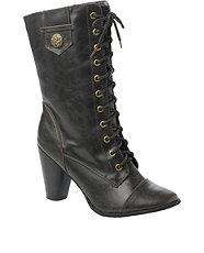 Mocha (Brown) Leather Look Lace  Boot £7 delivered @ New Look