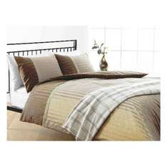 Tesco Herringbone Print Duvet Set Double, Dark Natural £4.80