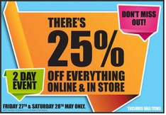 25% off everything @ Peacocks