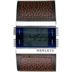 Henleys Square Silver Frame Brown Leather Strap Watch  £9.99 @ The hut