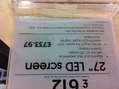 "Apple 27"" LED Cinema Display, £733.97 (£185 off!) INSTORE ONLY"