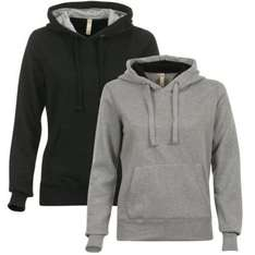 2 For  £9.99. Ladies Pack Of  2 Hooded Tops With Contrast Lining - Black, Grey @ The Hut.