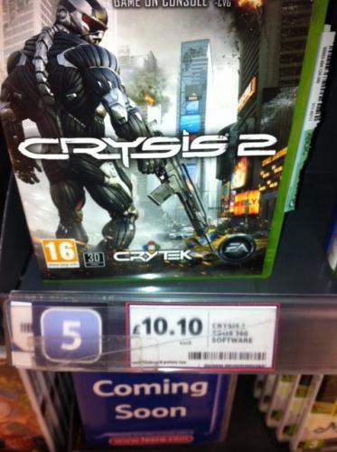 Crysis 2 - Xbox 360 / PS3 - Tesco Instore - £10.10