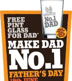 Free Pint Glass For Dad on Fathers Day @ Hungry Horse