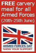 Free carvery meal for heroes @ crown carveries