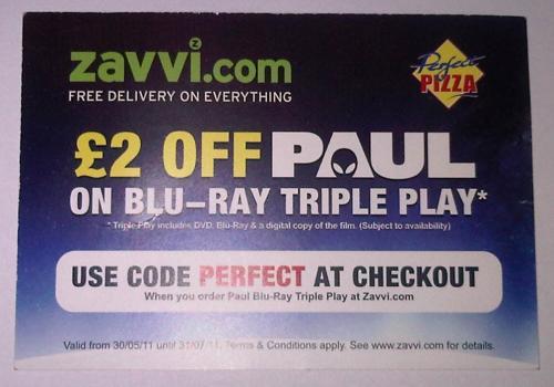 Paul - Triple Play  Blu-ray Pre-order @ Zavvi £13.95 with promo code (PERFECT)