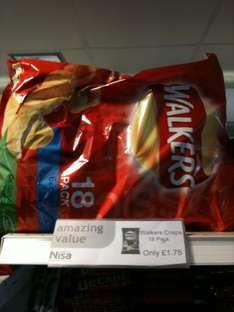 Walkers Crisps 18 Pack Variety £1.75 @ Nisa