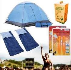 Festival Camping Kit: Tent, 2 Sleeping Bags & 4 LED Pegs for £29.45 Delivered @ Dealtastic