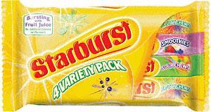Starburst Fruity Chews Variety Pack - 4 x 45g packs 72p at Sainsburys