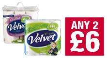 Velvet Triple / Quilted toilet tissue Two 9 roll packs  for £6 at Co-op