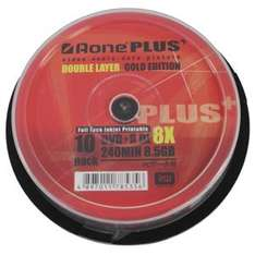 Bargain - Aone Plus Gold Edition 8x DVD+R DL Full Face Inkjet Printable Discs - 8.5GB 240min - 10pk - Only £3.49 delivered @ 7dayshop