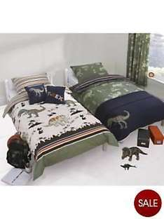 2x Boys Single Dinosaur and Stripe Duvet Cover Sets (buy one get one FREE!) only £7.50 @ Very.co.uk