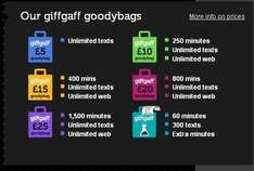 Various GiffGaff deals - see post £5 +