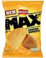 Walkers 50g MAX cheeseburger crisps 20p or 6 for £1 @ B&M