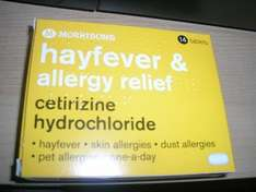 morrisons hayfever allergy relief cetirizine hydrochloride tablets £0.74 @ morrisons in store