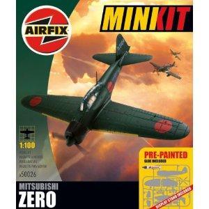 Airfix A50026 Mitsubishi Zero 1:100 Scale Mini Kit Gift Set Pre-painted inc Glue £2.25 del @ Amazon