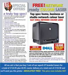 Dell 1320CN Colour Network Laser Printer with Two sets of IJT Toners = £124.95 + £8.95 delivery £133.90